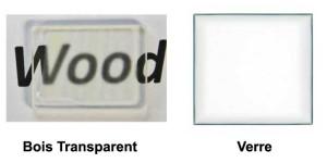 Comparaison entre un morceau de bois transparent à gauche et du verre à droite : les deux sont ressemblant