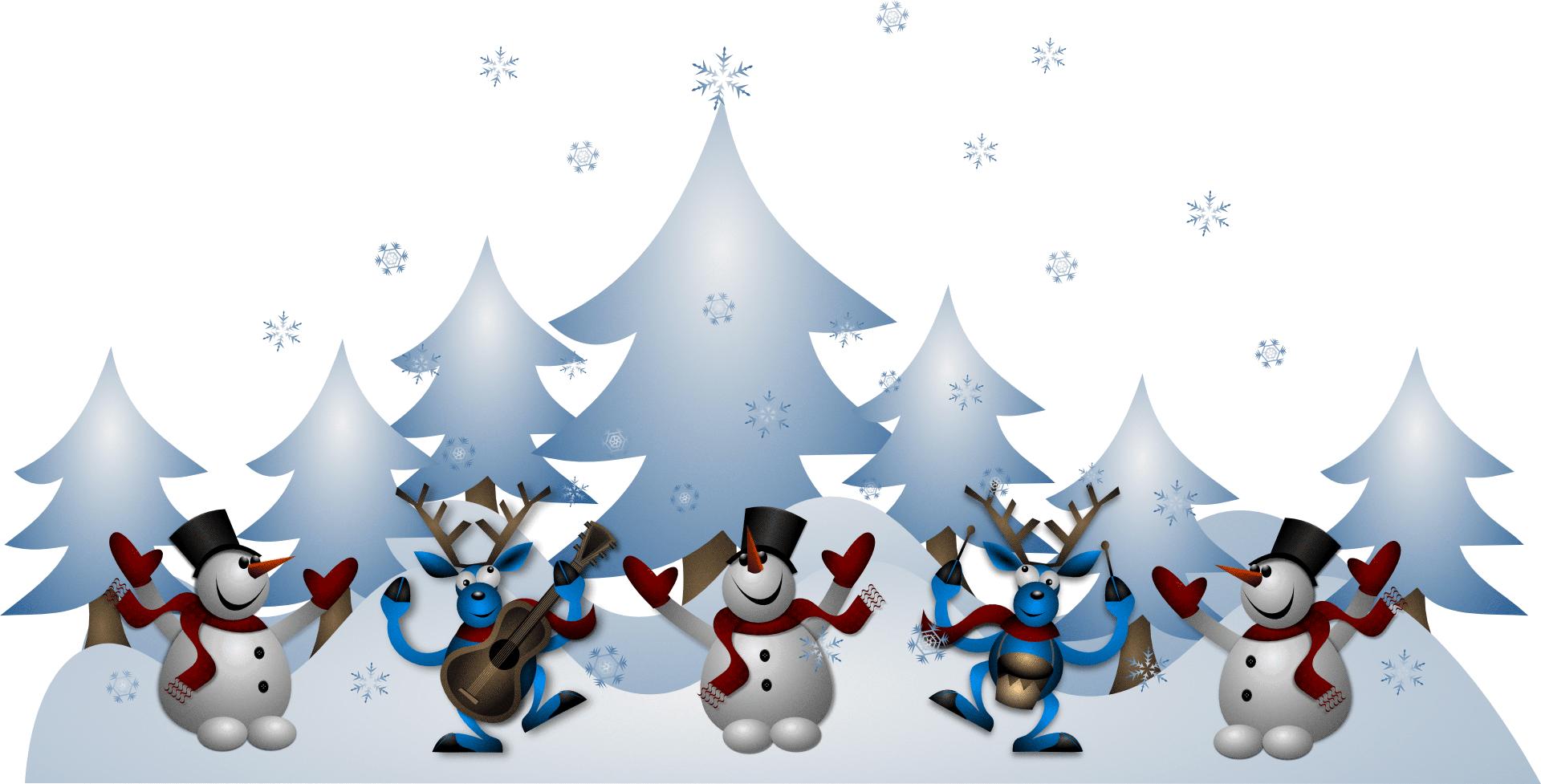 igés, des bonhommes de neige dansants et des élans jouant de la musique. Bonnes fêtes !!!